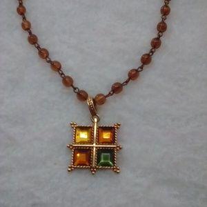 """Gold-Tone Square Pendant  Necklace 21"""" vintage"""